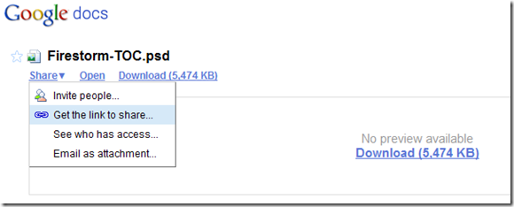 Google Docs - Get Link